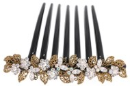 This gorgeous hair comb decorated with tons of SWAROVSKI CRYSTAL measures about 4.25 inches wide 3.25 inches high. The top is about 4.25 inches by 1 inches. Y12
