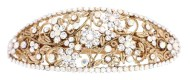 This barrette with SWAROVSKI crystal measures 4 inches by 1.5 inches. The clasp on the back is about 2.5 inches long. P13