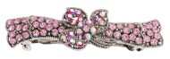 This medium size barrette decorated with SWAROVSKI crystals measures about 3.0 inches wide and 0.9 inch high. The clasp on the back is about 2.0 inches long. P1