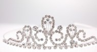 bridal (wedding) tiara with Swarovski Crystals. about 1.5 inches high.
