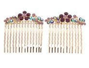 This pair of gorgous small hair combs are decorated with SWAROVSKI CRYSTAL. Each measures about 1.75 inches wide 2.0 inches high. Y1