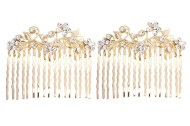 This pair of gorgeous small hair combs are decorated with SWAROVSKI CRYSTAL. Each measures about 2.25 inches wide 2.0 inches high. Y3