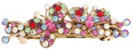 This medium size barrette decorated with tons of crystals measures about 3.25 inches wide and 1.25 inch high. The clasp on the back is about 2.0 inches long. P7