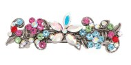 This small size barrette decorated with SWAROVSKI crystals measures about 2.75 inches wide and 0.75 inch high. The clasp on the back is about 1.75 inches long. P11