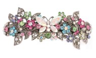 This medium size barrette decorated with SWAROVSKI crystals measures about 3.75 inches wide and 1.5 inch high. The clasp on the back is about 2.5 inches long. P14