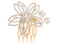 This gorgeous bridal (wedding) small hair comb is decorated withSWAROVSKI Crystals and measures about 2.25 inches wide 2.3 inches high. Y1