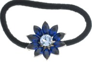 This flower ponytail holder is made with rhinestones and about 1.1 inches by 1.1 inches. T12