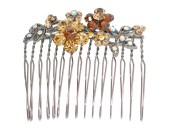 This SWAROVSKI CRYSTAL hair comb measures 2.25 inches wide. The teeth are about 1.5 inches long. Y4