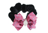 This elastic ponytail holder with a bow is about 2.25 inches by 1.75 inches.