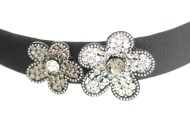 This black headband decorated with tons of Swarovski crystals measures approximately 0.75 in thick at center. The flower is about 2.25 inches by 1.25 inches. G3