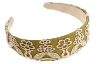 The comfortable headband is covered with colorful fabric and measures approximately 1.5 inches thick at center. One size.