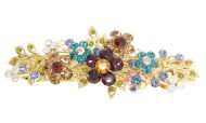 This gorgeous medium size barrette is decorated with SWAROVSKI crystal and about 3.5 inches wide by 1.25 inches high. The clasp on the back is about 2.5 inches long. P6