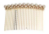 This bridal (wedding) hair comb with pearl beads measures approximately 3.2 inches by 2.0 inches. Y5