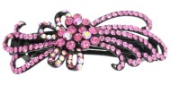 This gorgeous medium size barrette is decorated with tons of rhinestones and about 3.25 inches wide by 1.5 inches high. The clasp on the back is about 2.0 inches long. P15