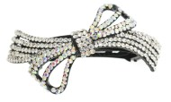 This gorgeous medium size barrette is decorated with tons of rhinestones and about 3.5 inches wide by 2.25 inches high. The clasp on the back is about 2.25 inches long. P1