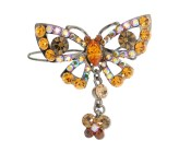 This small hair pin in butterfly shape with SWAROVSKI CRYSTAL measures 1.75 inches wide and 1.25 inches high. O22