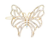 The butterfly SWAROVSKI CRYSTAL hair clamp measures 2.0 inches wide and 2.0 inch high. O24