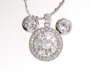 The Swarovski crystals necklac length of necklace is 15 inches and the size of large crystal is 0.4 inches.