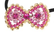 This ponytail holder is made with SWAROVSKI CRYSTAL and about 1.75 inch by 1.75 inch. T3
