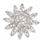 This brooch approximately measures 1.5 inch by 1.5 inch.